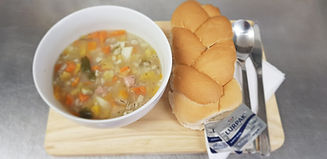 Soup and bread roll
