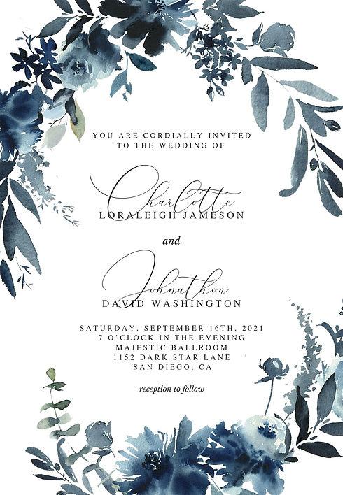 Blue flowers wedding invite.