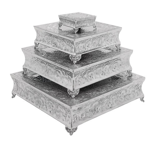Silver Traditional Square Cake Stands