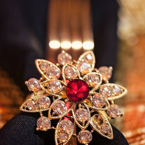 Gold Red Jewel napkin rings