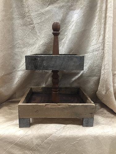2 Tier Wood Box Cupcake Stand
