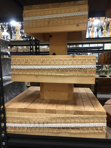 3 Tier Wood Square Lattice Cupcake Stand