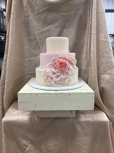 Ivory Wood Box Cake Stand