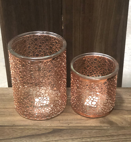 Copper Circle Candleholders