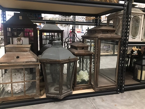 Assorted Wood/Galv Lanterns