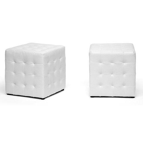 White Ottoman Tuft Cubes