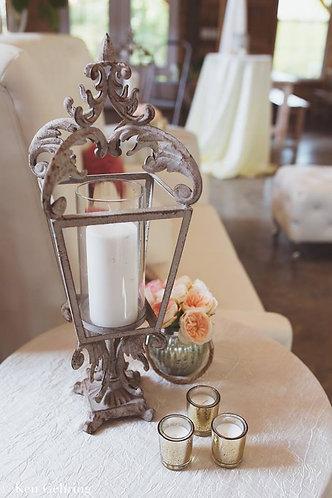 Shabby Ivory Candlestick Pedestal