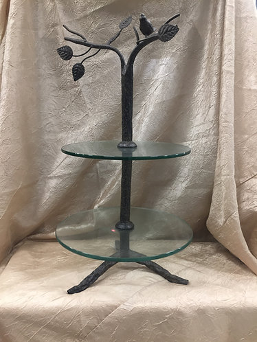 2 Tier Bird Top Glass Cupcake Stand