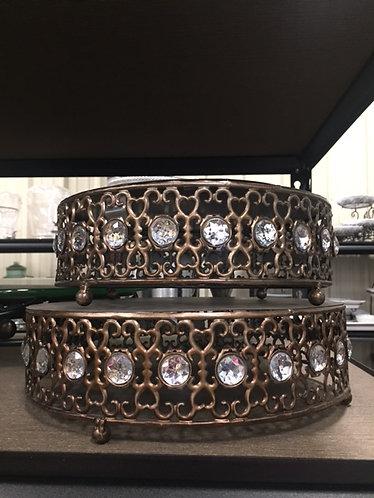 Bronze Round w/ Rhinestone Cake Stand