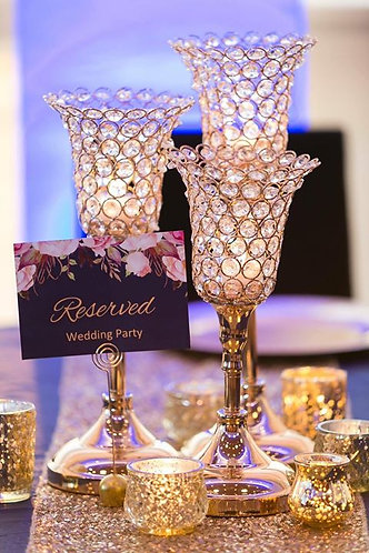Gold or Silver Rhinestone Candle Goblets