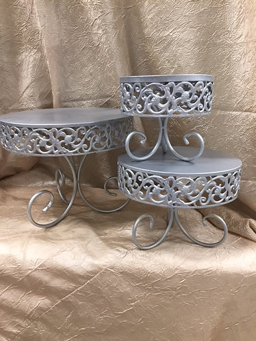 Small Silver Scroll Side Cake Stands