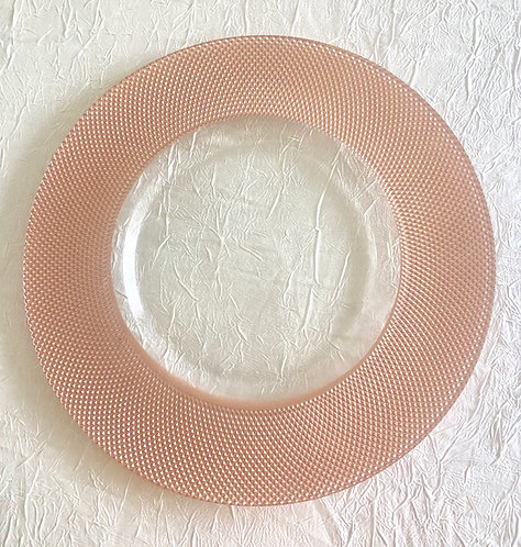 Blush Diamonette Glass Charger