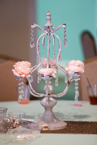 Shabby Ivory Candelabra w/ crystals dangling