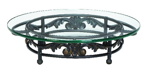 Round Glass Iron Bottom Cake Stand