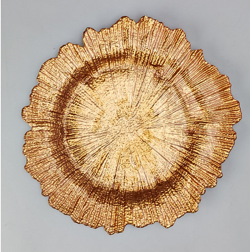 Gold coral Reef Glass Charger