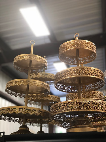 Gold 3 Tier Cupcake Stand Lace Edge