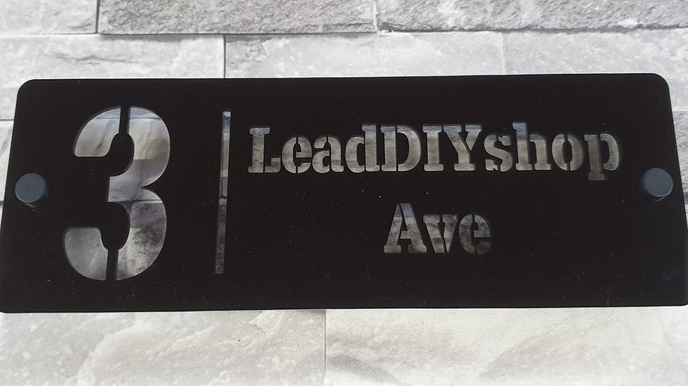 Black Acrylic House Sign 28cm x 10cm Plaque Personalised Laser Cut & Fixings