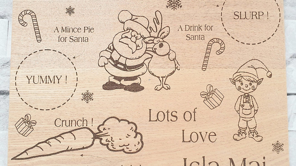 Christmas Eve board Personalised Tray Santa Rudolph Elf Treat Plate Kids Gifts