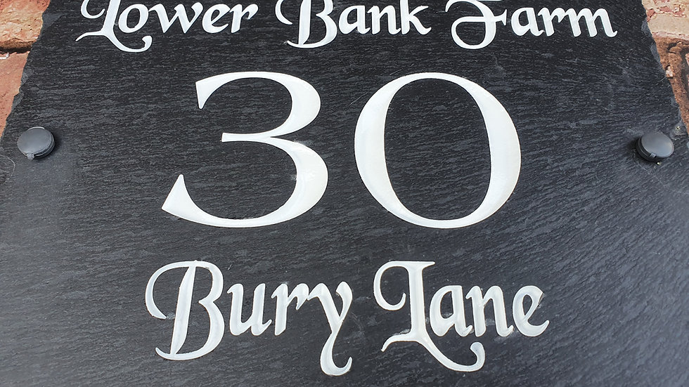 Slate House Sign Large Plaque Deep Engraved Painted 30cm x 30cm Personalised