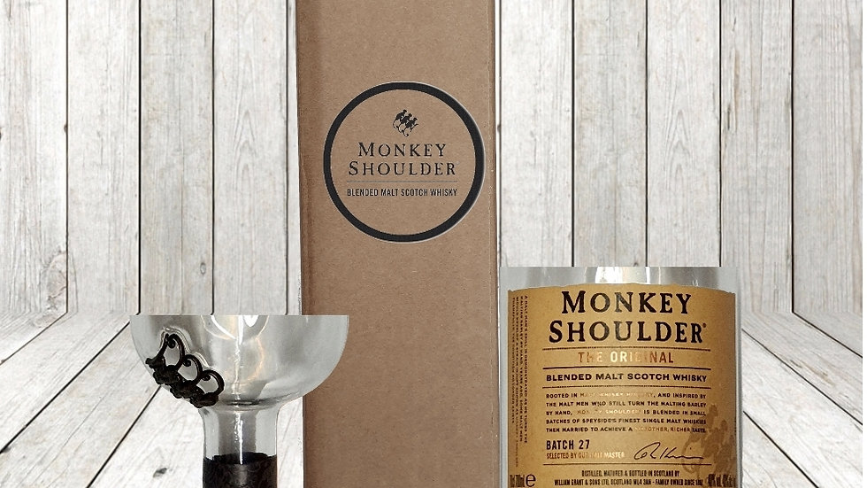 Monkey Shoulder Whisky Bottle Gift Box Set Upcycled Glass