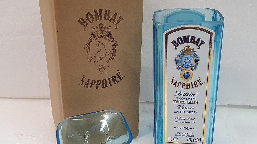 Bombay Sapphire Gin Bottle Gift Box Set Upcycled Glass handmade can perso