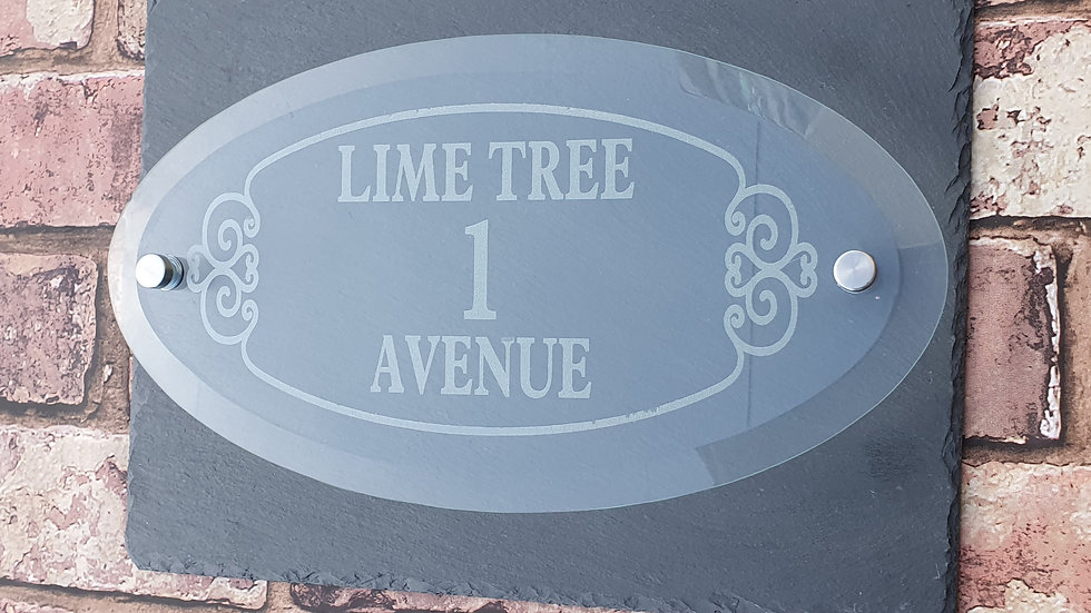 Slate House Sign 29cm x 21cm Plaque with Glass Lasered Oval & Fixings