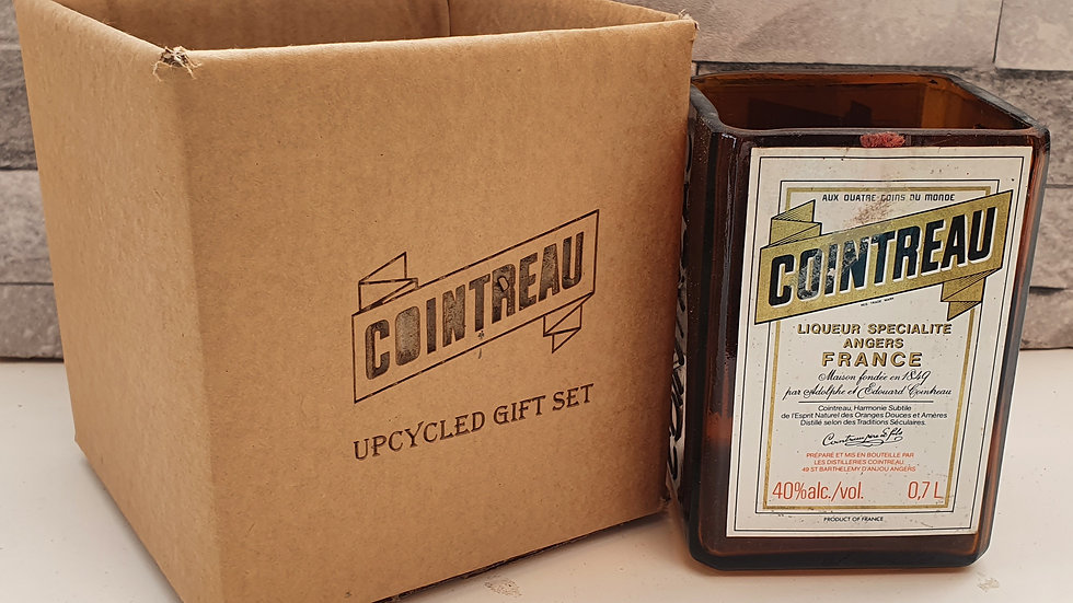 Cointreau Bottle Gift Box Set Upcycled Glass handmade