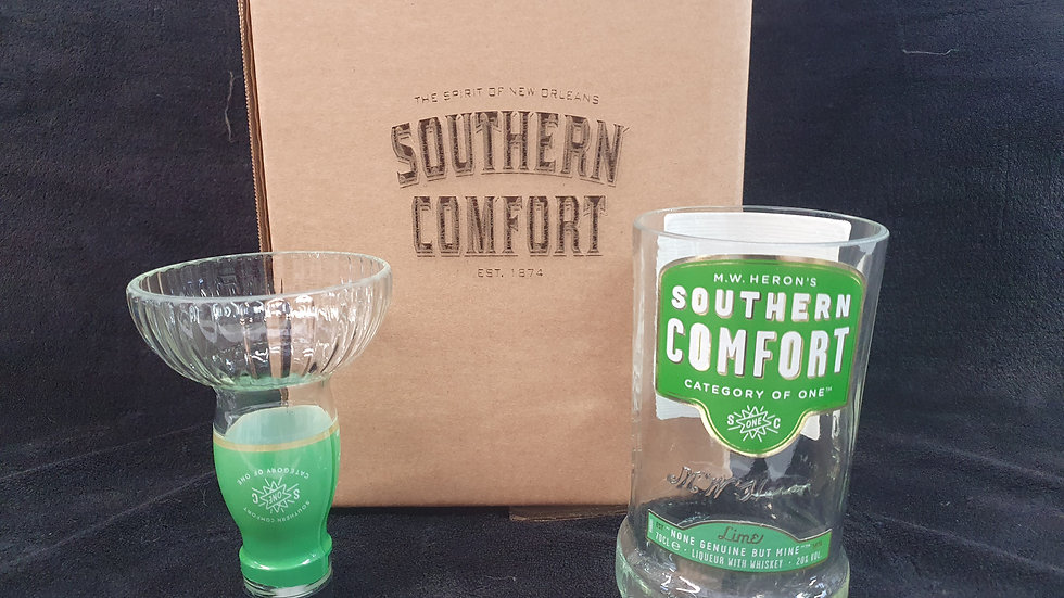 Southern Comfort lime Whisky Bottle 70cl Gift Box Set Upcycled Glass handmade