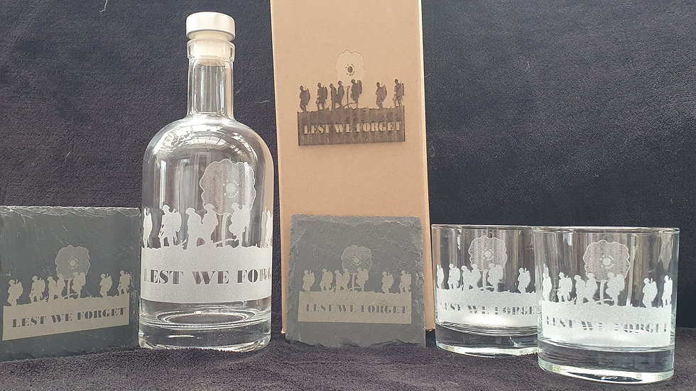Lest We Forget decanter gift box set for 2 can be personalised