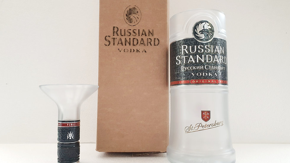 Russian Standard Vodka Bottle Gift Box Set Upcycled Glass handmade personalised