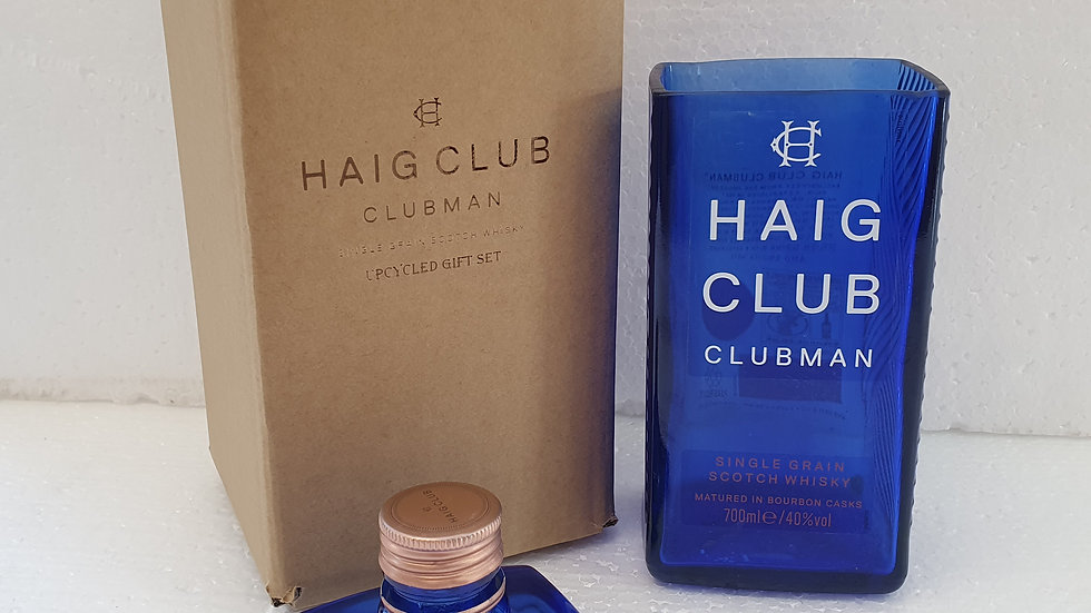 Haig Club Whisky Bottle Gift Box Set Upcycled Glass handmade can perso
