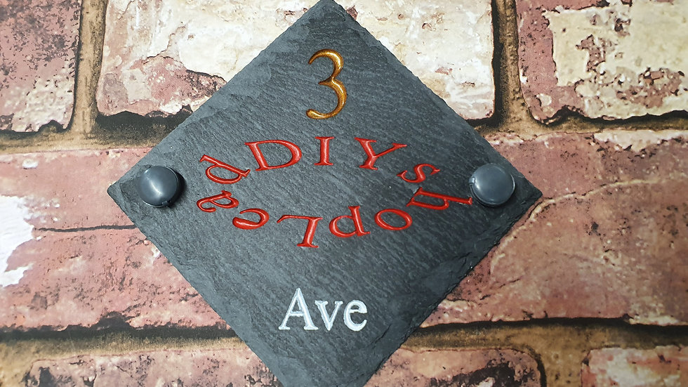 Slate House Sign Plaque Carved Painted Small 135mm x 135mm Personalised