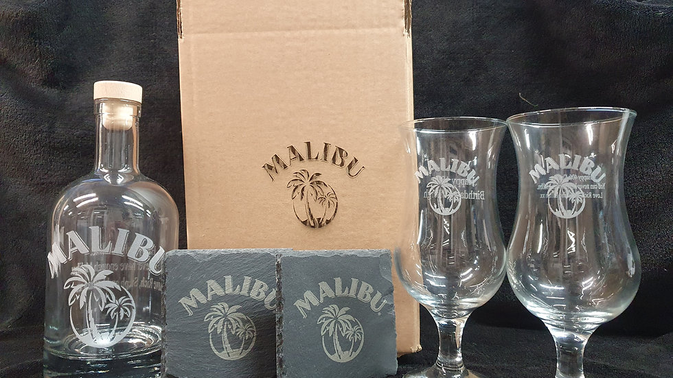 Malibu decanter gift box set for 2 with 2 glasses 2 slates can be personalised