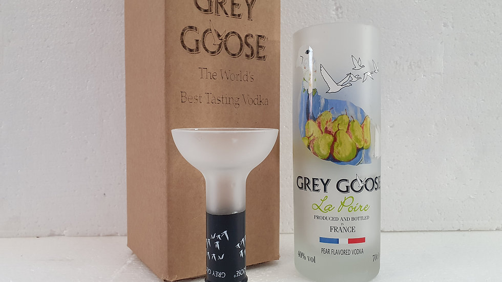 Grey Goose Pear Vodka Bottle Upcycled Glass Gift Set handmade can be p