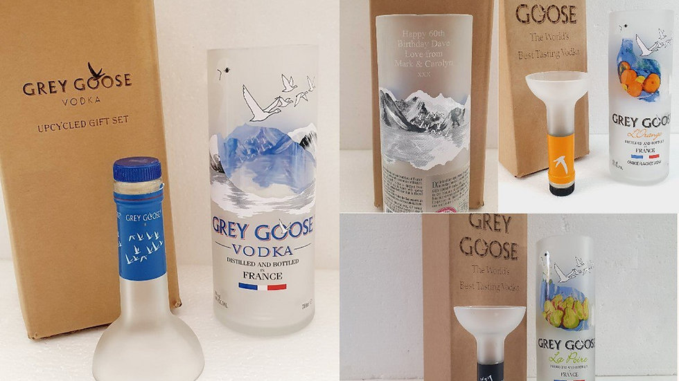 Grey Goose Vodka Bottle Upcycled Glass Gift Set handmade can be personalised.