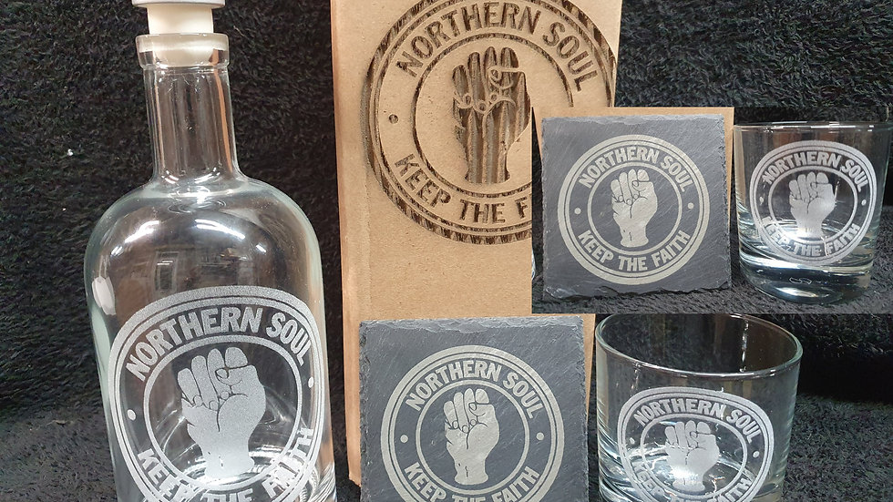 Northern Soul decanter gift box set for 2 can be personalised