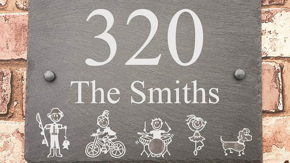 Slate House Sign 29cm x 21cm Plaque Stick Family Personalised with fixings