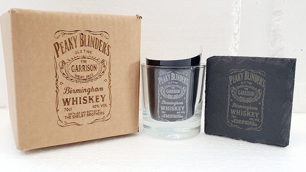 Peaky Blinders Whisky Tumbler Glass with slate Coaster and gift box set.