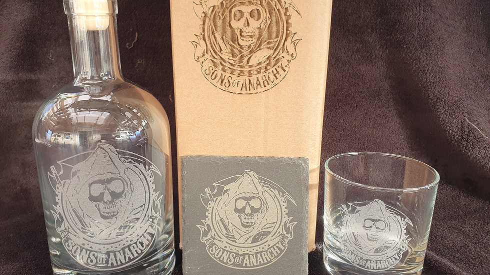Sons of Anarchy decanter gift box set can be personalised