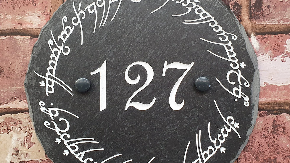 Slate House Sign CIrcle Diameter Engraved Painted Personalised