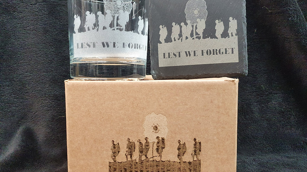 Lest We Forget Tumbler Glass with slate Coaster gift box set