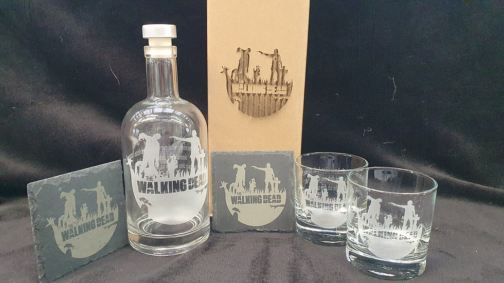Walking Dead decanter gift box set for 2 can be personalised