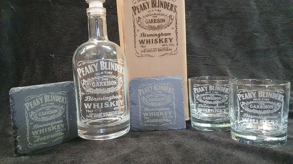Peaky Blinders Whisky decanter gift box set for 2 can be personalised