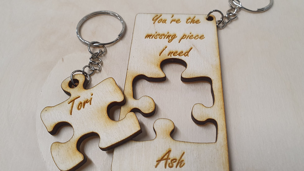 Romantic missing piece Personalised keyring Valentine/Anniversary/Birthday