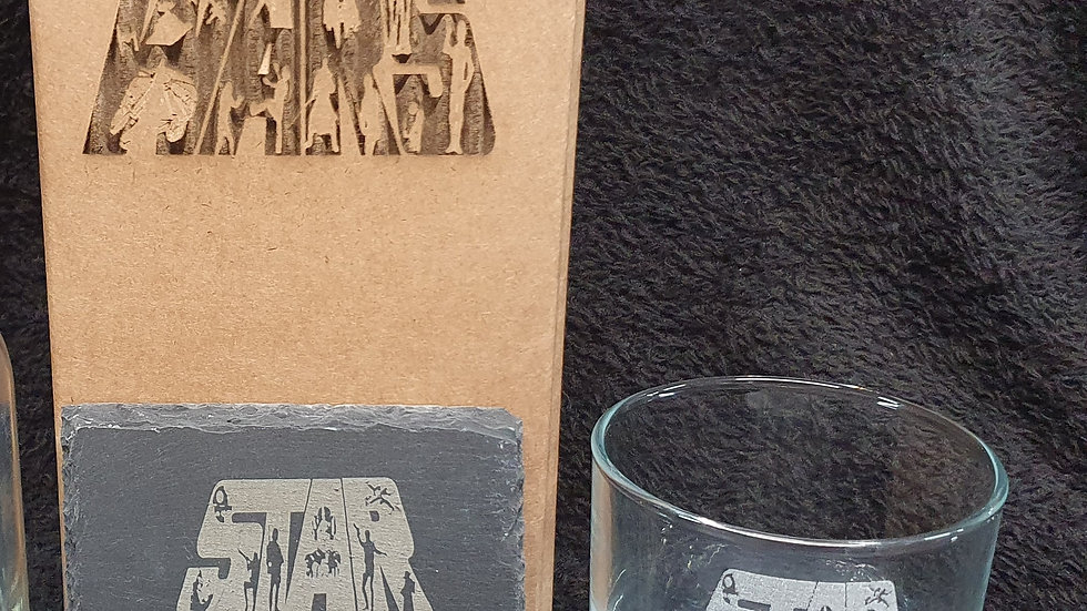 Star Wars Tumbler glass and slate gift box set can be personal