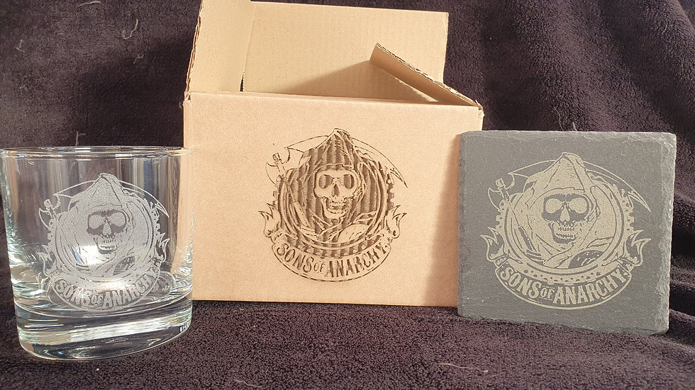 Sons of Anarchy Tumbler Glass with slate Coaster gift box set