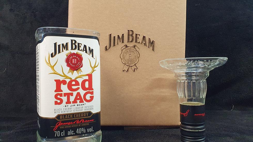 Jim Beam Red Stag Black Cherry Whisky Bottle Upcycled Glass Gift Set handmade