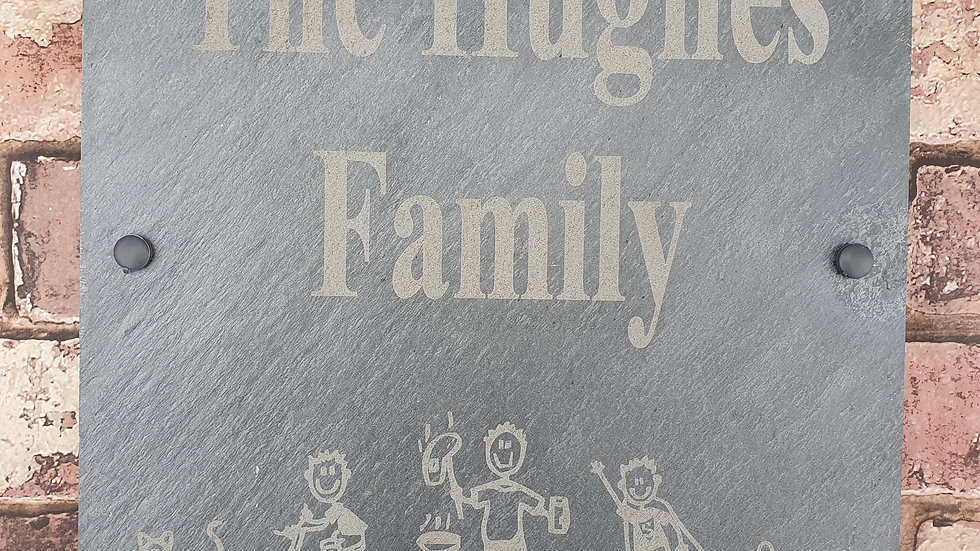 Slate House Sign 30cm x 30cm Large Plaque Stick Family Personalised