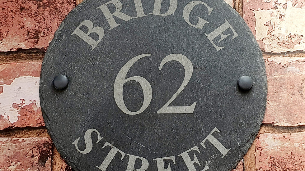 Slate House Sign Circle Diameter Personalised Laser Engraved & Fixing