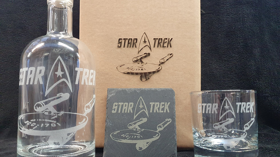 Star Trek decanter gift box set can be personalised
